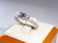 Victorian Style Ladies Sterling 925 Fine Silver White Sapphire & Tanzanite Ring
