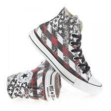 Converse Distressed Grey Black Red Flag Stars Stripes HI TOP Shoes Mns 9 NWT