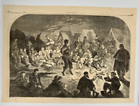 1861 Winslow Homer Etching: Civil War, Union Soldiers, African-American Dancing