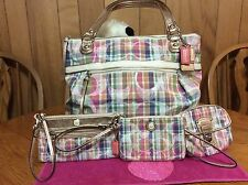 Coach Poppy Daisy Madras Glam Shopper Tote with matching accessories 19611