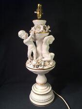 Vintage Italian White Porcelain Cherub Lamp (ref W321)