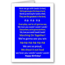 Unique Typographic LEEDS UNITED Football FAN Birthday Card / Gift