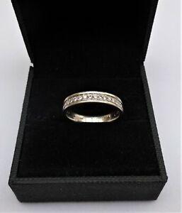 950 Palladium Diamond Wedding Ring Channel Set 0.25 Carat Size L 1/2