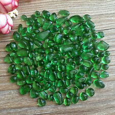 50g Nature Green Glass Gravel Stones Polished Rock Chips Energy Healing Decor