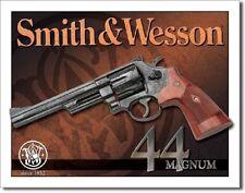 Smith & Wesson Revolvers Guns Ammo 44 Magnum Retro Vintage Style Metal Tin Sign