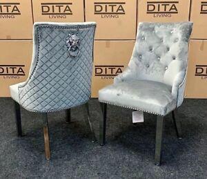 """Knocker Chairs Light Grey Velvet """"SET OF 4"""""""