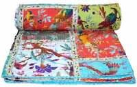 Indian Kantha Quilt Flat Sheet Bird Print Patchwork King Size Bedspread Throw