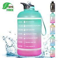 Motivational Water Bottle BPA Free 2.2L/64oz Half Gallon Jug + Straw Time Maker