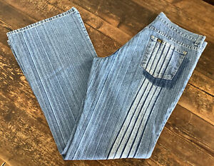 LADIES VINTAGE LOIS JEANS FLARED STRIPED W32 L34 MADE IN SPAIN