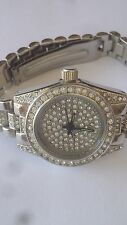 Womans Simulated Diamond Silver Tone BLING WATCH Iced Out W/ Hundreds of stones