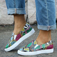 Women Snakeskin Round Toe Flats Casual Slip On Pumps Print Loafers Sneakers Shoe