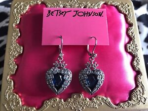 Betsey Johnson Heavens to Betsey Crystal Blue Angel Wing Heart Earrings RARE