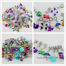 Wholesale Lots Mixed 20X Drop Oil Silver Alloy Bead Fit European Charms Bracelet