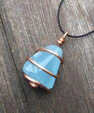 Aquamarine Necklace Spiraled in Copper! Awesome Ocean Blue Aquamarine Pendant!