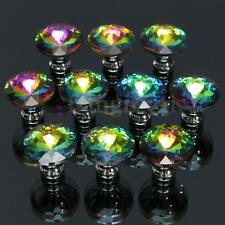 10pcs Colorful Crystal Glass Knobs Handle Cupboard Wardrobe Cabinet Door Drawer