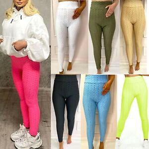 Womens Ladies Anti-Cellulite Bubble Waffle Push Up Yoga Gym Sports Leggings