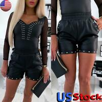 Women PU Faux Leather Hot Pants Punk Goth High Waisted Slim Fit Shorts Trousers