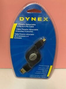 Dynex DX-FR4-4 4 Feet Retractable IEEE 1394 (FireWire) 4 Pin to 4-Pin Cable