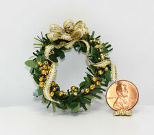 Artisan Christmas Wreath in Gold by Doll House Christmas Shop