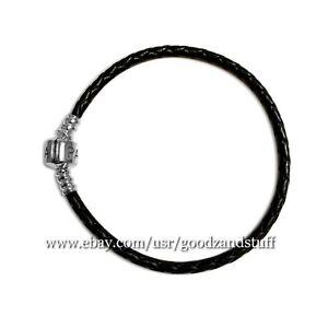 Black Single Strand Leather Woven Cord Pandora Charm Bracelet 590705CBK-S2 (7.5)
