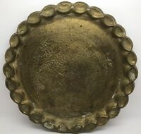 """Brass Persian Tray: 13"""" Round Ornate Hand-Engraved Vintage Tray (RF654)"""