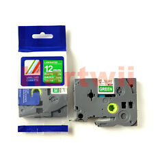 Brother TZ-735 P-Touch Compatible White on Green Label Tape 12mm 8m TZe-735