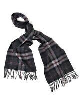 Unisex 100% Wool Formal Acadamia Scholar Dark Plaid Scarf with Tassels