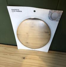 "Magnetic Gold Rim Oval Mirror 9""x 7"" Locker Decor"