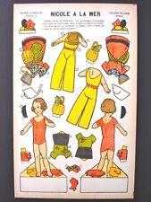 Vintage Pellerin Imagerie Nicole a La Mer Bright Uncut Paper Dolls Inv1392