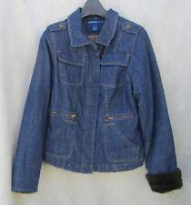 Avenue 14/16 X Denim Lined Leopard Print Blue SPRING Jacket Coat Hidden Buttons