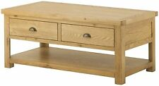 Rustic Oak Large Coffee Table With Drawers And Shelf | Chunky | Oxford Range