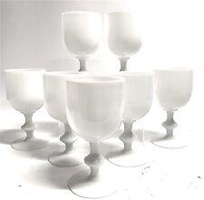 "Portieux Vallerysthal Vintage White Opaline Goblets 6.5"" Set of 7"