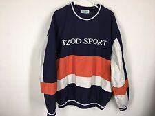 Vintage Izod Sport pullover windbreaker jacket L orange blue golf spellout polo