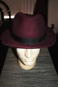 CHRISTY'S LONDON MENS 100% WOOL FELT TRILBY HAT MAROON SIZE MED. RP $135.00 NWT