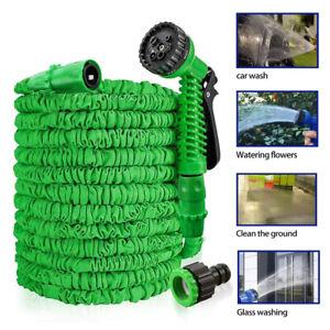 25FT Expandable Garden Hose Pipe Spray Gun Flexible Expanding Stretch Pipes UK