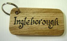 Wooden  keyring 9cm x 4.5cm ideal for hotels with names and numbers engraved