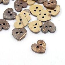 5 Botones de Corazón de Coco 17 mm 2 agujero Flatback Coser Tejer Artesanía Reino Unido Vendedor