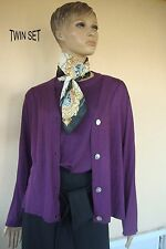 TWIN SET GILET CARDIGAN TUNIQUE  FIN CHIC PRUNE NEUF 50 % VISCOSE T 42/44/46