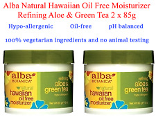 2 x 85ml ALBA BOTANICA Nat Hawaiian Oil Free Moisturiser Refining Aloe Green Tea