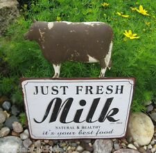 Brown Dairy Milk COW Wall SIGN*Primitive/French Country Farmhouse Kitchen Decor