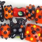 5 Lampwork Handmade Halloween Black Cat Square Rondelle Tube - Trick or Treat