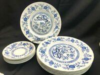 "Wedgwood Blue Heritage Pattern (Blue Onion) 10"" Dinner Plates (6) Saucers (5)"