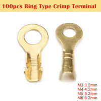 High Quality M3-M5 3.2-6.2mm Uninsulated Crimp Ring Terminal - Pack 100