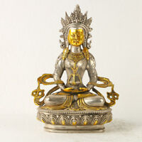 Chinese Antique Silver copper Gilt  Carved Figure Of Buddha statue GL197