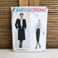 VOGUE Yves SAINT Laurent 2338 JACKET Skirt & FRILL Top BLOUSE Sewing PATTERN 12