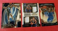 ZION WILLIAMSON & JAXSON HAYES 2 ROOKIE JERSEY CARD + 2 PRIZM ROOKIE INSERT CARD