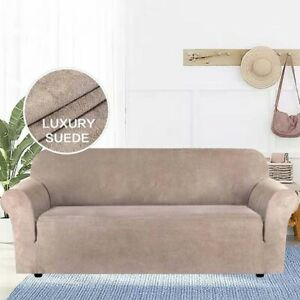✅HIGH QUALITY Suede Fabric Sofa Cover Solid Color Elastic Slipcover Protector✅