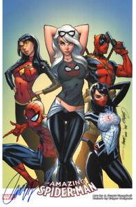J Scott Campbell Signed Spiderman Comic Art Print ~ Black Cat Deadpool Silk