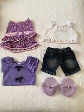 Build A Bear Bundle -Purple Colours. Dress, Jeans, T-Shirt, Fancy Top & Slip Ons
