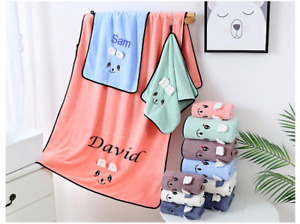 Personalised Embroidered Cute Rabbit Ears Microfiber bath beach towel